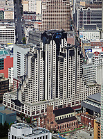 aerial photograph of the San Francisco Marriott hotel, Zeidler Architecture Inc., San Francisco, California