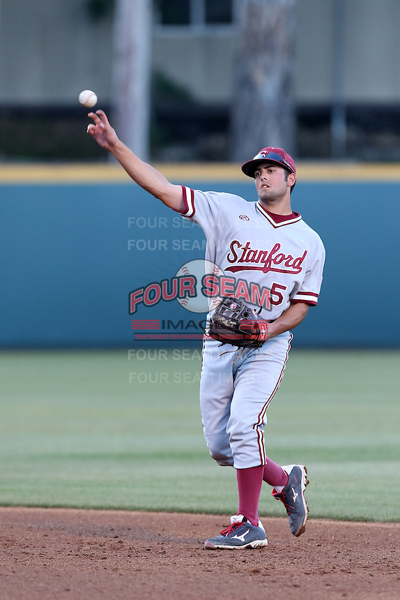 Brett Michael Doran #5 of the Stanford Cardinal during a game against the UCLA Bruins at Jackie Robinson Stadium on May 2, 2014 in Los Angeles, California. UCLA defeated Stanford, 7-2. (Larry Goren/Four Seam Images)