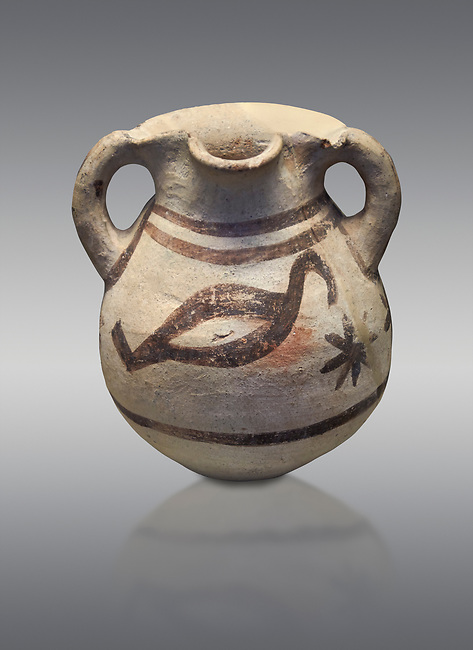 Cycladic amphora with bird decoration.  Cycladic III (2300-2000 BC) , Phylakopi, Melos. National Archaeological Museum Athens. cat no 5748.   Grey background.<br /> <br /> <br /> During this Ctcladic period pottery was predominatly monochrome and brnished , this amphora is a rare example of bird decorated pottery from the era