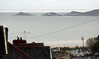 Swansea, UK. Friday 24 October 2014<br /> Cwmdonkin Drive, Swansea overlooking towards Mumbles<br /> Re: This year marks the centenary of Dylan Thomas' birth on 28th October 2014 with events at the birthplace of author and poet Dylan Thomas, at 5 Cwmdonkin Drive, Swansea, south Wales, UK.