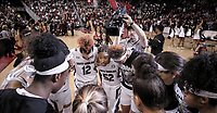 South Carolina guard Tyasha Harris (52) leads the Gamecocks in a team huddle before the Texas A&M game in Columbia, S.C. on Sunday, March 1, 2020. (Travis Bell/SIDELINE CAROLINA)