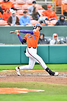 Clemson Tigers shortstop Logan Davidson (8) swings at a pitch during a game against the North Carolina Tar Heels at Doug Kingsmore Stadium on March 9, 2019 in Clemson, South Carolina. The Tigers defeated the Tar Heels 3-2 in game one of a double header. (Tony Farlow/Four Seam Images)