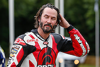 Keanu Reeves after driving Arch Motorcyle Company's Arch KRGT-1 2032cc V-twin four stroke up the hill climb at Goodwood Festival of Speed 2016 at Goodwood, Chichester, England on 24 June 2016. Photo by David Horn / PRiME Media Images
