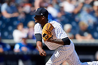 New York Yankees relief pitcher Domingo German (63) delivers a pitch during a Grapefruit League Spring Training game against the Toronto Blue Jays on February 25, 2019 at George M. Steinbrenner Field in Tampa, Florida.  Yankees defeated the Blue Jays 3-0.  (Mike Janes/Four Seam Images)