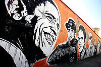 Title Wall of Fame, Artist  JB Rock, shown Barack Obama, Mobb, Quentin Tarantino, Ray Charles<br /> This is a 60 meters mural showing famous faces like the Hall of Fame<br /> Rome February 7th 2019. Street Art in Rome, Ostiense<br /> district. Very important writers painted Murales in various districts of Rome to tell stories about the city, to commemorate important moments, to embellish the quarter or simply to portray it.  <br /> Photo Samantha Zucchi Insidefoto