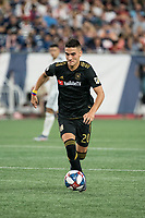 FOXBOROUGH, MA - AUGUST 4: Eduard Atuesta #20 of Los Angeles FC advances down the field during a game between Los Angeles FC and New England Revolution at Gillette Stadium on August 3, 2019 in Foxborough, Massachusetts.
