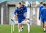 St Johnstone Training....   Ali Crawford and Lars Dendoncker pictured during training at McDiarmid Park ahead of Saturday's game against Rangers.<br />Picture by Graeme Hart.<br />Copyright Perthshire Picture Agency<br />Tel: 01738 623350  Mobile: 07990 594431