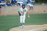 Jeremy Simpson (9) (Catawba) of the High Point-Thomasville HiToms takes his lead off of third base against the Martinsville Mustangs at Finch Field on July 26, 2020 in Thomasville, NC.  The HiToms defeated the Mustangs 8-5. (Brian Westerholt/Four Seam Images)