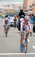 Cyclists during the first stage of the Castilla and Leon 2013 Cycling Tour. The first stage of the 28th tour took place from Arevalo (Avila) to Valladolid. April 12, 2013. Valladolid, Spain. (Alterphotos/Victor J Blanco) /NortePhoto