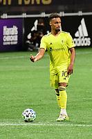 ATLANTA, GA - AUGUST 22: Hany Mukhtar #10 dribbles the ball during a game between Nashville SC and Atlanta United FC at Mercedes-Benz Stadium on August 22, 2020 in Atlanta, Georgia.