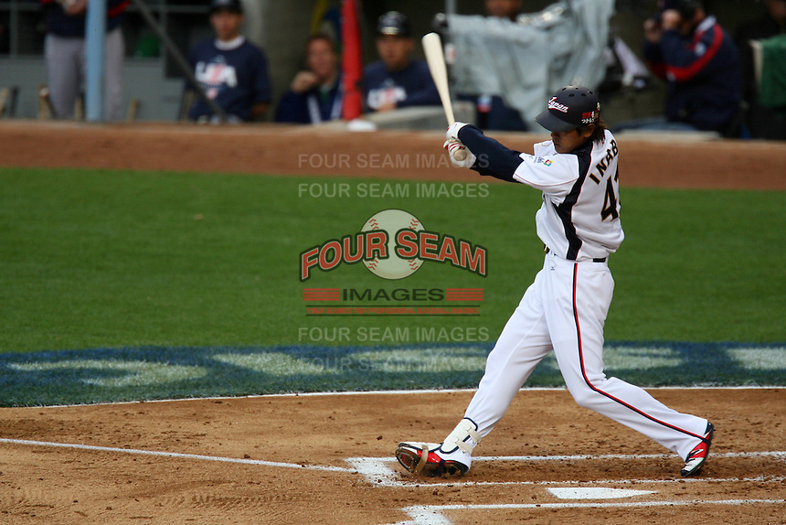 Atsunori Inaba of Japan during a game against the United States at the World Baseball Classic at Dodger Stadium on March 22, 2009 in Los Angeles, California. (Larry Goren/Four Seam Images)