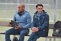 head coach Johan Walem of Anderlecht  and Assistant Coach Miguel Atilio of Anderlecht pictured during a female soccer game between Club Brugge Dames YLA and RSC Anderlecht on the third matchday of the 2021 - 2022 season of Belgian Scooore Womens Super League , saturday 4 september 2021in Aalter , Belgium . PHOTO SPORTPIX   DIRK VUYLSTEKE