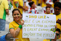 A Brazil fan with a banner with a message for stand in captain David Luiz