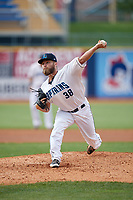 Lake County Captains starting pitcher Sean Brady (38) delivers a pitch during the first game of a doubleheader against the West Michigan Whitecaps on August 6, 2017 at Classic Park in Eastlake, Ohio.  Lake County defeated West Michigan 4-0.  (Mike Janes/Four Seam Images)
