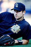 Brian Banks of the Milwaukee Brewers before a 1999 Major League Baseball season game against the Los Angeles Dodgers in Los Angeles, California. (Larry Goren/Four Seam Images)