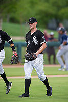 AZL White Sox relief pitcher Zach Lewis (75) walks off the field between innings of the game against the AZL Padres on July 31, 2017 at Camelback Ranch in Glendale, Arizona. AZL White Sox defeated the AZL Padres 2-1. (Zachary Lucy/Four Seam Images)