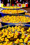 Midway Games, Western Washington State Fair, Puyallup, Washington.  Rubber duckies floating in wading pools.