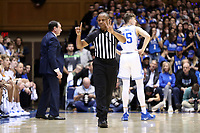 DUKE, NC - FEBRUARY 15: Official Mike Stephens calls a foul during a game between Notre Dame and Duke at Cameron Indoor Stadium on February 15, 2020 in Duke, North Carolina.