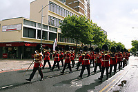 Pictured: The Welsh Guards parade through Princess Way in Swansea.  Friday 15 September 2017<br />