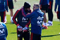 Spain's Pepe Reina (l) and Jordi Alba during training session. March 21,2018.(ALTERPHOTOS/Acero) /NortePhoto.com NORTEPHOTOMEXICO
