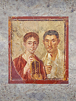 Roman fresco  portrait of a baker, Terentius, and his wife in the pose of intellectuals, Naples National Archaeological Museum , their expressions capture the sense of a real moment that connects with the viewer in a direct realistic way , Pompeii VII 2,6 , inv 9058 ,