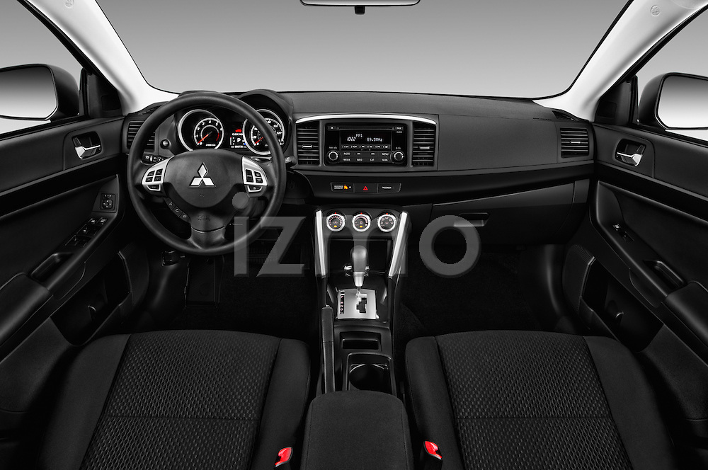 Stock photo of straight dashboard view of 2016 Mitsubishi Lancer ES-CVT 4 Door Sedan Dashboard