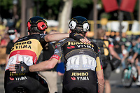 The joy of a 3rd victory in this Tour for Belgian National Champion Wout van Aert (BEL/Jumbo-Visma) is shared with teammate Mike Teunissen (NED/Jumbo-Visma).<br /> <br /> Stage 21 (Final) from Chatou to Paris - Champs-Élysées (108km)<br /> 108th Tour de France 2021 (2.UWT)<br /> <br /> ©kramon