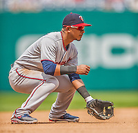 9 June 2013: Minnesota Twins infielder Eduardo Escobar stands ready at third base during a game against the Washington Nationals at Nationals Park in Washington, DC. The Nationals shut out the Twins 7-0 in the first game of their day/night double-header. Mandatory Credit: Ed Wolfstein Photo *** RAW (NEF) Image File Available ***