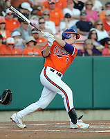 Infielder Jeff Schaus (3) of the Clemson Tigers in a game against the Eastern Michigan Eagles on Friday, Feb. 18, 2011, at Doug Kingsmore Stadium in Clemson, S.C. Photo by Tom Priddy / Four Seam Images