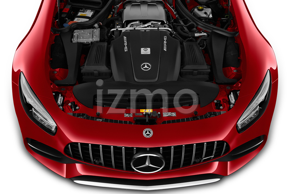 Car Stock 2020 Mercedes Benz AMG-GT - 3 Door Coupe Engine  high angle detail view