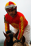 Jockey Mike Smith aboard #5 Hoppertunity before the running of the Rebel Stakes (Grade II) at Oaklawn Park in Hot Springs, Arkansas-USA on March 15, 2014. (Credit Image: © Justin Manning/Eclipse/ZUMAPRESS.com)