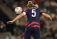 KANSAS CITY, KS - JULY 15: Walker Zimmerman #5 of the United States snaps a head ball during a game between Martinique and USMNT at Children's Mercy Park on July 15, 2021 in Kansas City, Kansas.