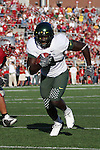 Oregon running back, LeGarrette Blount (#9), bolts for the endzone to score a touchdown during the Ducks Pac-10 conference game against the Washington State Cougars at Martin Stadium in Pullman, Washington, on September 27, 2008.
