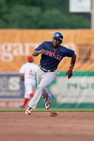 Lowell Spinners designated hitter Brandon Phillips (7) running the bases in the top of the fifth inning during a game against the Auburn Doubledays on July 13, 2018 at Falcon Park in Auburn, New York.  Phillips was promoted to Triple-A Pawtucket after the game; the former All-Star signed a minor league free agent deal with the Boston Red Sox June 27th and played six games with the Spinners batting .318 with one home run and 7 RBI's.  Lowell defeated Auburn 8-5 in ten innings (Mike Janes/Four Seam Images)
