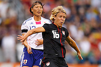 14 MAY 2011: USA Women's National Team midfielder Lori Lindsey (16) shields the ball from Japan National team Ayumi Kaaihori during the International Friendly soccer match between Japan WNT vs USA WNT at Crew Stadium in Columbus, Ohio.