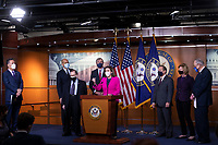 """Speaker of the United States House of Representatives Nancy Pelosi (Democrat of California) and United States Senate Majority Leader Chuck Schumer (Democrat of New York) join Senate and House leaders for a news conference ahead of House consideration of the """"Equality Act,"""" which would expand the Civil Rights Act of 1964 and other laws """"to extend anti-discrimination protections for both sexual orientation and gender identity"""", at the U.S. Capitol in Washington, DC, Thursday, February 25, 2021. Credit: Rod Lamkey / CNP /MediaPunch"""