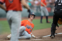 Auburn Tigers outfielder Steven Williams (41) slides home during Game 4 of the NCAA College World Series against the Mississippi State Bulldogs on June 16, 2019 at TD Ameritrade Park in Omaha, Nebraska. Mississippi State defeated Auburn 5-4. (Andrew Woolley/Four Seam Images)