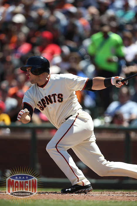 SAN FRANCISCO, CA - JULY 3:  Adam Duvall #37 of the San Francisco Giants bats against the St. Louis Cardinals during the game at AT&T Park on Thursday, July 3, 2014 in San Francisco, California. Photo by Brad Mangin