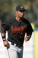 Miguel Velazquez of the Bakersfield Blaze during game against the Lake Elsinore Storm at The Diamond in Lake Elsinore,California on July 25, 2010. Photo by Larry Goren/Four Seam Images