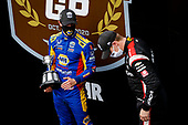 #1: Josef Newgarden, Team Penske Chevrolet celebrates winning the Bommarito Automotive Group 500 Race 1, #27: Alexander Rossi, Andretti Autosport Honda