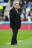 Steve Hansen, New Zealand Coach, oversees the warm up ahead of during the QBE International match between England and New Zealand at Twickenham Stadium on Saturday 8th November 2014 (Photo by Rob Munro)