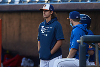 Durham Bulls pitcher Brent Honeywell Jr. (21) watches from the dugout during the game against the Jacksonville Jumbo Shrimp at Durham Bulls Athletic Park on May 15, 2021 in Durham, North Carolina. (Brian Westerholt/Four Seam Images)
