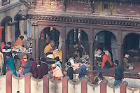 Pashupatinath, Kathmandu, Nepal.  A Pati, or Covered Rest House, inside the Courtyard of Nepal's Holiest Hindu Temple, Pashupatinath.