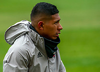 WASHINGTON, DC - FEBRUARY 29: Edison Flores #10 of DC United warms up on a cold day during a game between Colorado Rapids and D.C. United at Audi Field on February 29, 2020 in Washington, DC.