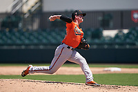 Baltimore Orioles pitcher Nick Roth (26) during a Minor League Spring Training game against the Detroit Tigers on April 14, 2021 at Joker Marchant Stadium in Lakeland, Florida.  (Mike Janes/Four Seam Images)