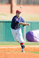 Third baseman Mel Skochdopole #10 of the Dayton Flyers makes a throw to first base against the High Point Panthers at Willard Stadium on February 26, 2012 in High Point, North Carolina.    (Brian Westerholt / Four Seam Images)