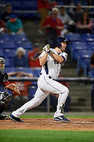 Binghamton Rumble Ponies designated hitter Kevin Taylor (12) follows through on a swing during a game against the Erie SeaWolves on May 14, 2018 at NYSEG Stadium in Binghamton, New York.  Binghamton defeated Erie 6-5.  (Mike Janes/Four Seam Images)