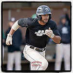 Jason Matthews (11) of the University of South Carolina Upstate Spartans Black team runs out a batted ball in the Green and Black Fall World Series Game 2 on Saturday, October 31, 2020, at Cleveland S. Harley Park in Spartanburg, South Carolina. Green won, 6-5. (Tom Priddy/Four Seam Images)