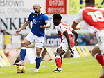 St Johnstone v Fleetwood Town…24.07.21  McDiarmid Park<br />Chris Kane holds off Jay Matete<br />Picture by Graeme Hart.<br />Copyright Perthshire Picture Agency<br />Tel: 01738 623350  Mobile: 07990 594431
