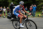 Thibaut Pinot (FRA) Groupama-FDJ rounds the final bend before the finish of Stage 3 of the Route d'Occitanie 2020, running 163.5km from Saint-Gaudens to Col de Beyrède, France. 3rd August 2020. <br /> Picture: Colin Flockton | Cyclefile<br /> <br /> All photos usage must carry mandatory copyright credit (© Cyclefile | Colin Flockton)